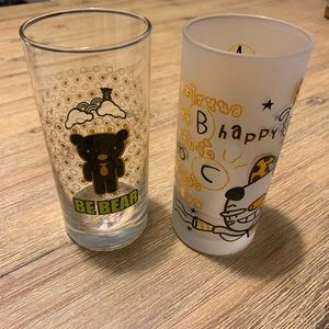 Set of two cute drinking glasses